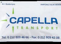 Capella Transport, Renkli Kurumsal Baskılı & Logolu Islak Mendil Nadir Ambalaj Islak Mendil